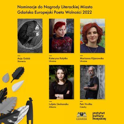 Nominacje do Nagrody Literackiej Miasta Gdańska Europejski Poeta Wolności 2022